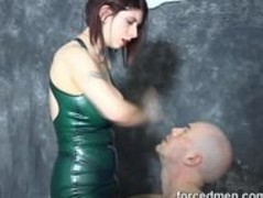 Poor slave is extremely tortured by his big titted mistress Thumb