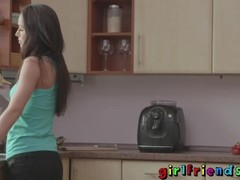 Girlfriends Sexy friends dance and eat pussy in the kitchen Thumb