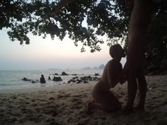 blowjob & handjob after sunset on public beach russian teen make horny guy Thumb