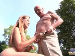 Young Old Porn Beautiful Teen Giving Blowjob and fucked by grandpa outside Thumb