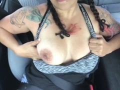 Playing with my tits in the car. Please cum on them for me! Thumb