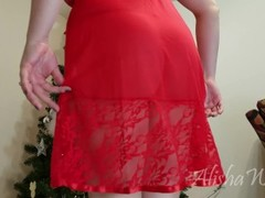 Holiday Hold the Moan - candy cane glass dildo anal chubby BBW blonde pawg Thumb