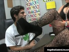 BBW Teacher Angelina Castro Makes Roxanne To Do Foot Job! Thumb