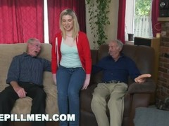 BLUE PILL MEN - Young Stacie Gets Schooled By Three Horny Old Men Thumb