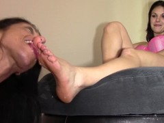 Alexis Rain slobbers on Marie's size 10 feet and Marie hates it! 1080P HD Thumb