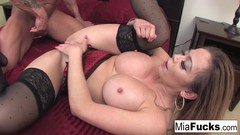 Sexy Asian hottie Mia Lelani gets some big Italian sausage from Marco Thumb